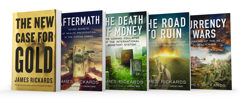 All of Jim Rickards Books lined up