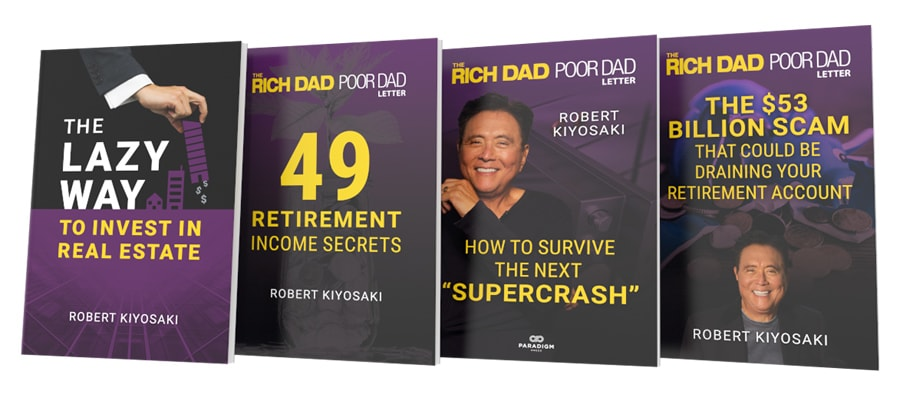 The books (from left to right) The Lazy Way to Invest In Real Estate, 49 Retirement Income Secrets,  How to Survive the Next Supercrash, and The $53 Billion Scam That Could Be Draining Your Retirement Account