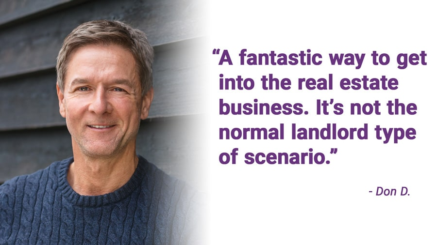 A fantastic way to get into the real estate business. It's not the normal landlord type of scenario.