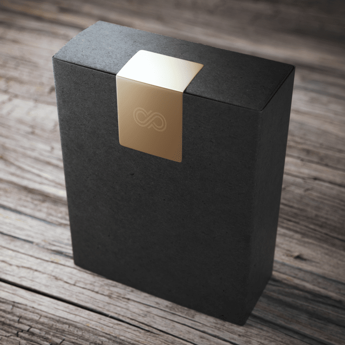 Black box with a gold seal